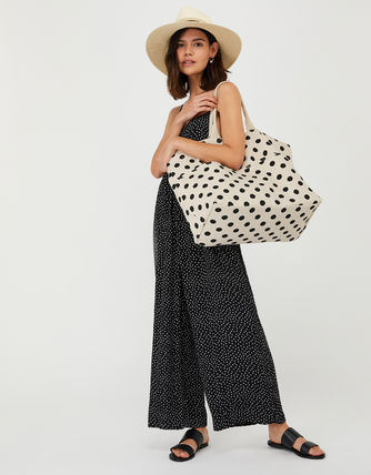 Dots Casual Style Canvas Blended Fabrics A4 Totes