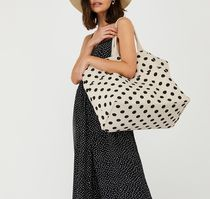 Accessorize Dots Casual Style Canvas Blended Fabrics A4 Totes