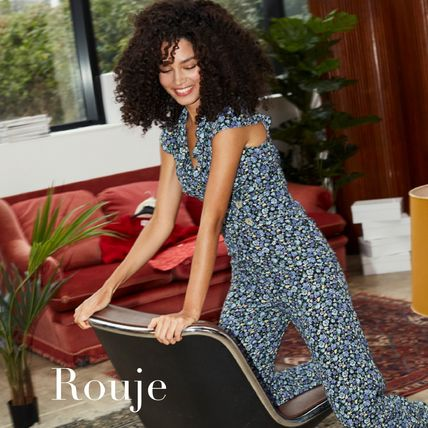 Rouje Dungarees Flower Patterns Long Dresses