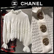 CHANEL ICON Casual Style Long Sleeves Plain Medium Party Style