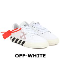 Off-White Plain Toe Rubber Sole Lace-up Casual Style Unisex