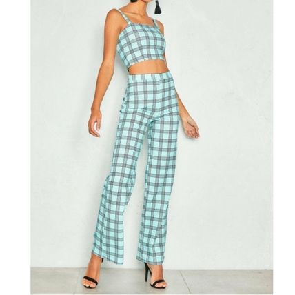 Short Glen Patterns Casual Style Tight Sleeveless Co-ord