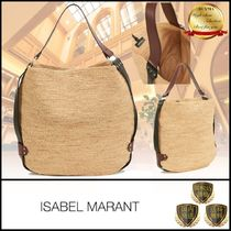 Isabel Marant Casual Style Blended Fabrics A4 Plain Leather Totes