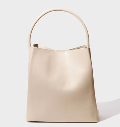 Plain Leather Office Style Elegant Style Formal Style  Totes