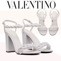VALENTINO Open Toe Casual Style Leather Block Heels Party Style