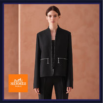 HERMES Short Wool Plain Biker Jackets