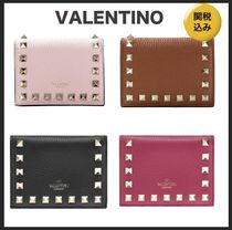 VALENTINO Unisex Calfskin Plain Leather Folding Wallets