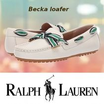 Ralph Lauren Round Toe Rubber Sole Casual Style Plain Logo