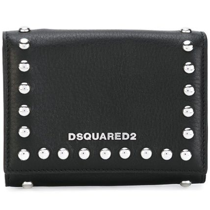 Unisex Calfskin Studded Street Style Leather Folding Wallet