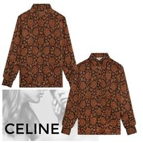 CELINE Paisley Casual Style Silk Long Sleeves Medium Party Style