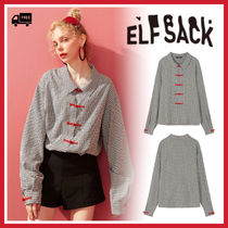 ELF SACK Gingham Other Plaid Patterns Casual Style Long Sleeves