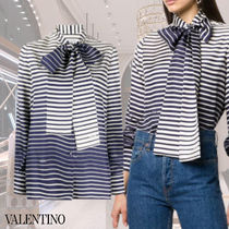 VALENTINO Stripes Casual Style Silk Long Sleeves Party Style