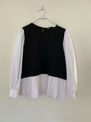 Short Bi-color Cropped Puff Sleeves Cropped