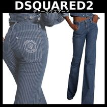 D SQUARED2 Stripes Denim Street Style Long Logo Wide & Flared Jeans