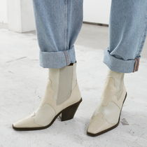 & Other Stories Cowboy Boots Square Toe Casual Style Plain Leather