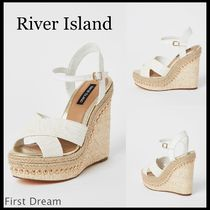 River Island Open Toe Faux Fur Blended Fabrics Studded