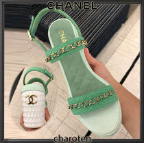 CHANEL ICON Open Toe Platform Casual Style Blended Fabrics Chain Plain