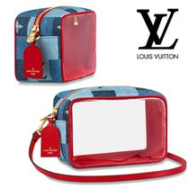 Louis Vuitton Casual Style Calfskin Denim Blended Fabrics Leather