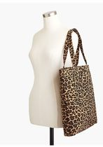 J Crew Leopard Patterns Casual Style Unisex Canvas Bag in Bag A4