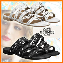 HERMES Open Toe Casual Style Studded Chain Plain Leather
