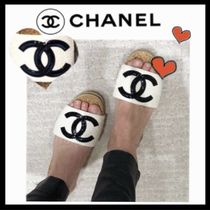 CHANEL ICON Platform Casual Style Tweed Bi-color Plain Mules