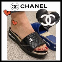 CHANEL ICON Platform Casual Style Plain Leather Mules