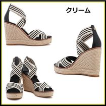Tory Burch Stripes Open Toe Casual Style Plain Platform & Wedge Sandals