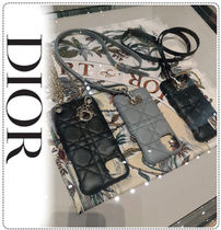 Christian Dior LADY DIOR Leather iPhone 11 Pro Max Smart Phone Cases