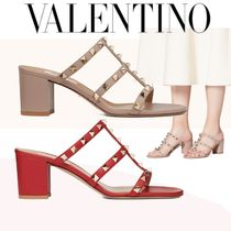 VALENTINO Open Toe Casual Style Plain Leather Block Heels Party Style