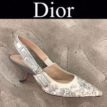 Christian Dior JADIOR Flower Patterns Blended Fabrics Leather Pin Heels Handmade
