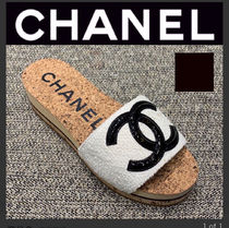 CHANEL ICON Open Toe Casual Style Tweed Street Style Plain Slippers Logo