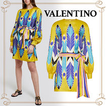 VALENTINO Crew Neck Casual Style Silk Long Sleeves Medium Party Style