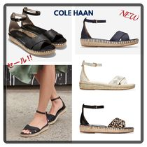 Cole Haan Leopard Patterns Open Toe Casual Style Plain Leather Python