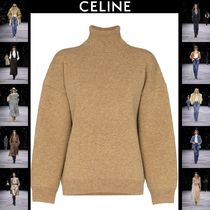 CELINE Casual Style Wool Cashmere Rib Long Sleeves Plain Medium