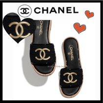 CHANEL ICON Platform Casual Style Tweed Plain Mules