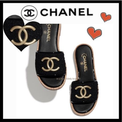 CHANEL ICON Mules Platform Casual Style Tweed Plain