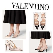 VALENTINO Studded Leather Elegant Style Pointed Toe Pumps & Mules