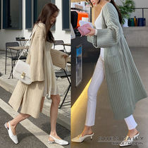 Casual Style Rib Long Sleeves Long Puff Sleeves Cardigans