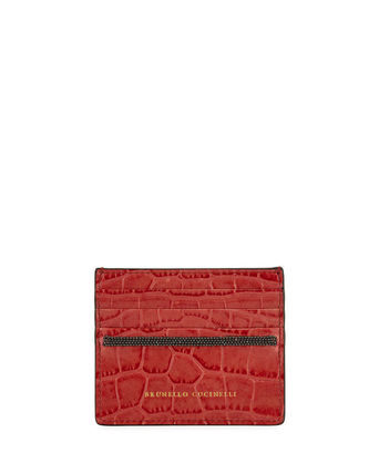 Crocodile Other Animal Patterns Leather Logo Card Holders