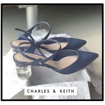 Charles&Keith Casual Style Plain Block Heels Party Style Office Style