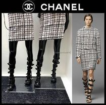 CHANEL Open Toe Casual Style Plain Block Heels Party Style