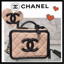 CHANEL ICON Calfskin Vanity Bags 2WAY Chain Plain Party Style Crossbody