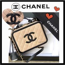 CHANEL ICON Casual Style Unisex Calfskin Vanity Bags 2WAY Bi-color Plain