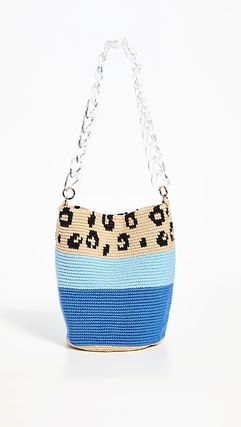 Stripes Leopard Patterns Casual Style Handbags