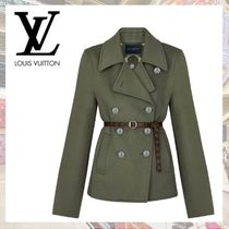Louis Vuitton Short Casual Style Wool Blended Fabrics Plain Party Style