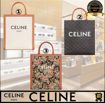 CELINE Cabas Flower Patterns Casual Style Calfskin A4 2WAY Plain Leather