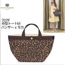 HERVE CHAPELIER Leopard Patterns Casual Style Nylon Totes