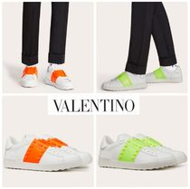 VALENTINO Studded Plain Leather Dad Sneakers Logo Sneakers
