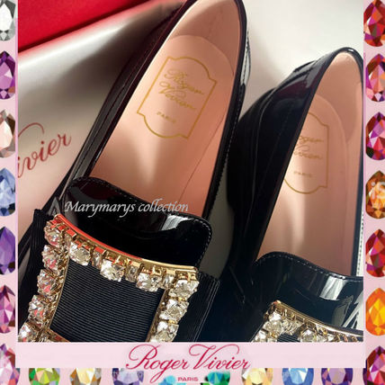 Plain Toe Round Toe Rubber Sole Casual Style Enamel Plain
