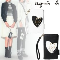 Agnes b Heart Leather Logo iPhone 11 Smart Phone Cases